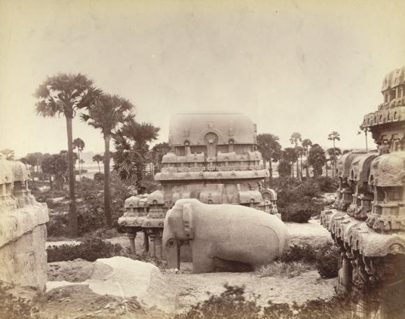 The original Nakula Ratha (now called the Nakula Sahadeva Ratha) at Mahabalipuram. British Library, Photo 27/(64)