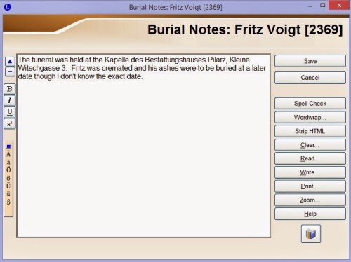 Burial Notes