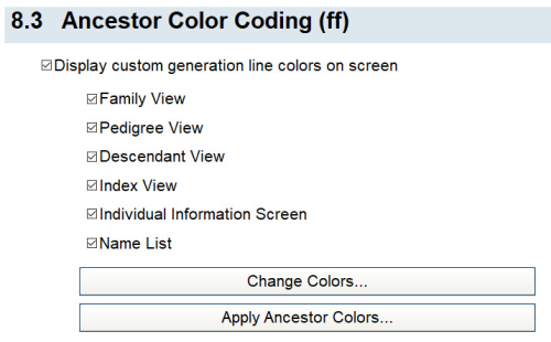 Ancestor Color Coding