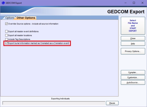 Gedcom export screen