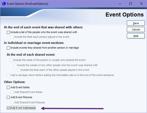 Custom event addresses