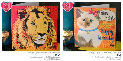 Rose Hill Designs products (Cards). One design (Left) has the imagery of a Lion with the other card design (Right) is a 'Happy Birthday'card with imagery of a Birman cat with speech bubble of meow meow