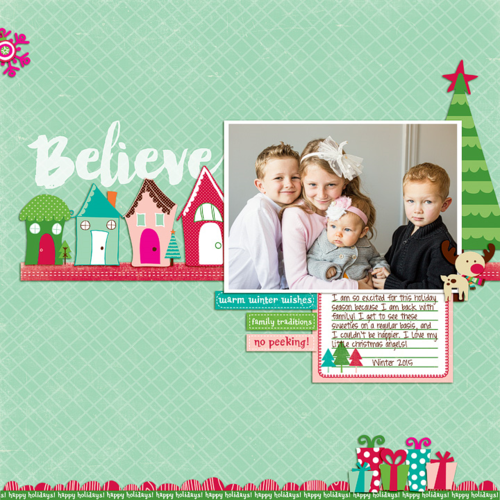 """This holiday layout was created by designer Rachael Sheedy with the """"Holly Jolly"""" digital scrapbooking kit by #EchoParkPaper"""