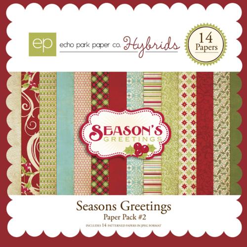 Seasons Greetings Digital Paper Pack #2 by #EchoParkPaper
