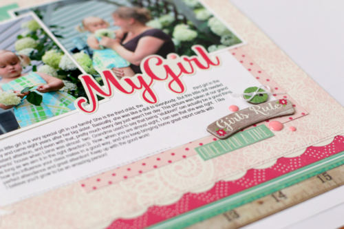 """My Girl"" layout by Anya Lunchenko featuring the ""Petticoats"" collection and designer dies by #EchoParkPaper"