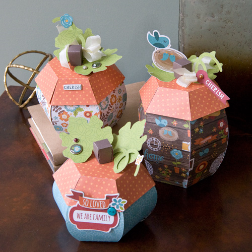 "3d Pumpkin project for gift boxes or home decor by Tegan Skwiat for #EchoParkPaper with the ""I Love Family"" collection and Silhouette shapes"