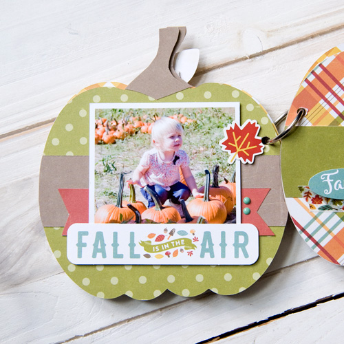 "Pumpkin shaped mini album created by Tegan Skwiat with the ""Fall is in the Air"" collection by #EchoParkPaper and #Silhouette shapes"