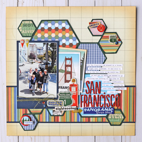 """San Francisco"" Scrapbook Layout created by Jana Eubank for #CartaBellaPaper with their ""Are We There Yet?"" Collection"