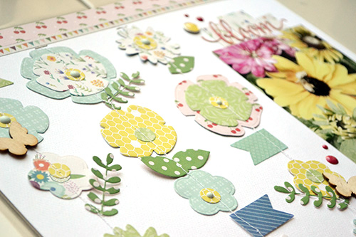 """Bloom Layout with Floral Garland by Aly Dosdall with the """"Homegrown"""" Collection by #cartabellapaper"""