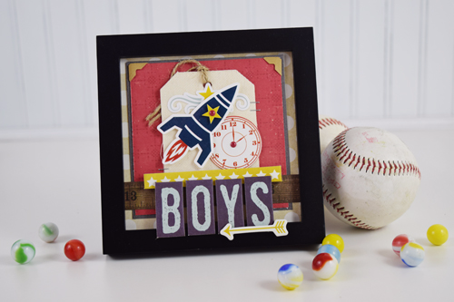 """Boys Altered Frame by Boys Shadowbox by Becki Adams featuring the """"Pinstripes"""" collection by #EchoParkPaper"""