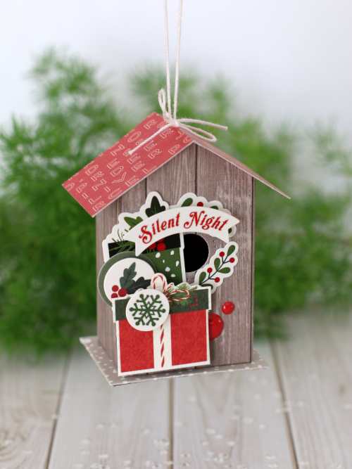 """Birdhouse Christmas Tree Ornaments by Anya Lunchenko with the """"Christmas Delivery"""" collection by #CartaBellaPaper"""
