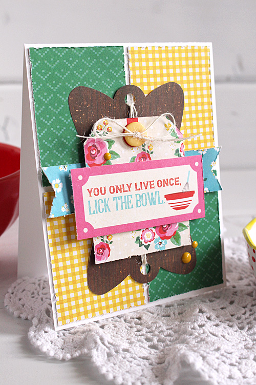 """You Only Live Once, Lick the bowl card by Kimberly Crawford with the """"Happiness is Homemade"""" collection and designer dies by #EchoParkPaper"""