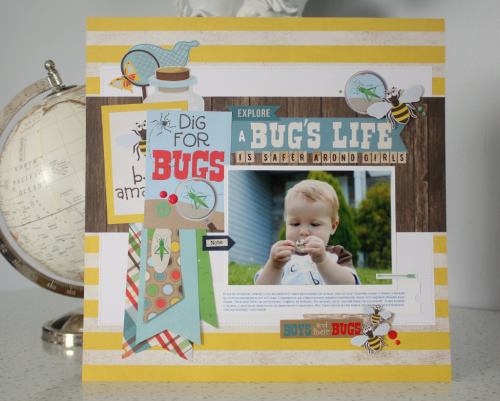 """Use the """"Bug Collection"""" mini theme products by #EchoParkPaper to create this layout by Anya Lunchenko!"""