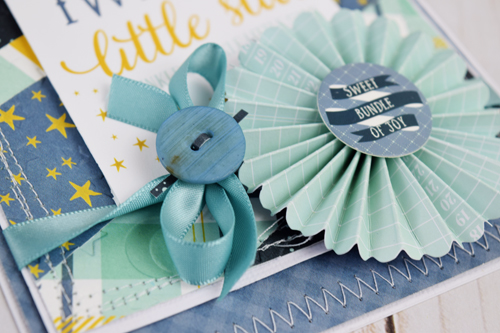 "Baby Boy Card by Becki Adams featuring the ""Rock-A-Bye Baby Boy"" Collection, designer dies, and mini paper fans from #CartaBellaPaper"