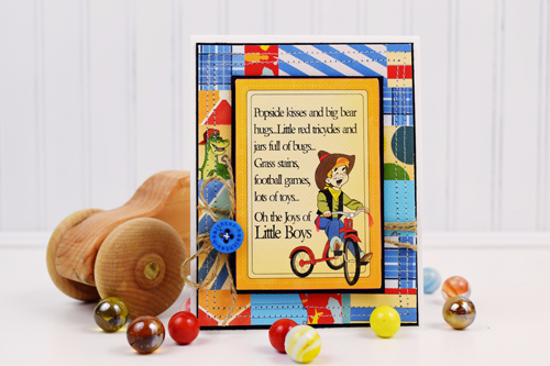 """Little Boys"" card by Becki Adams featuring the ""Toy Box"" collection by #CartaBellaPaper"