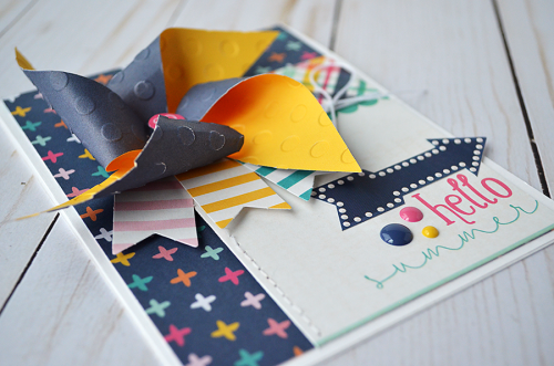 "Hello Summer card created by @Wendysue with the ""Summer Dreams"" collection and Pinwheel designer die by @EchoParkPaper"