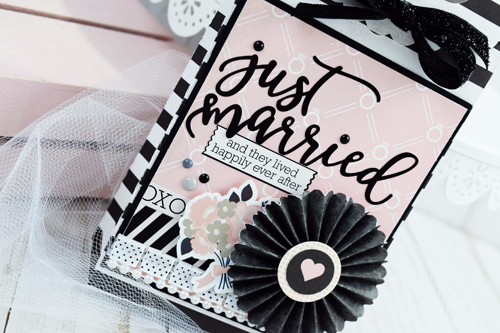"""Just Married"" wedding gift bag by Becki Adams for #EchoParkPaper with the ""Wedding Bliss"" collection."