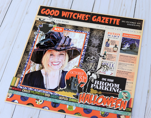 "Good Witch Halloween layout by Jana Eubank for #CartaBellaPaper with their ""Haunted House"" collection"