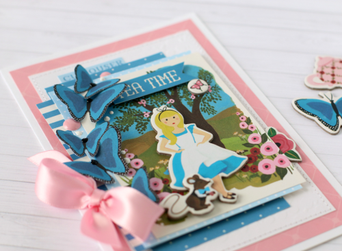 "Tea Time card by Anya Lunchenko with the ""Alice in Wonderland"" collection by #EchoParkPaper"