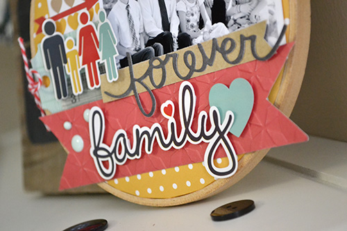 """""""Our Family"""" Altered Embroidery Hoop by Aly Dosdall for #echoparkpaper"""