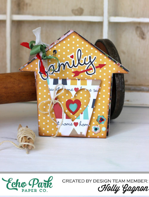 "House Shaped Mini Album by Holly Gagnon with the ""Our Family"" Collection by #echoparkpaper"