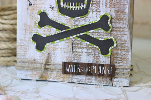 "Skull and Crossbones Pallet Project by Holly Gagnon with the ""Pirates Life"" collection and Silhouette shapes by #EchoParkPaper"