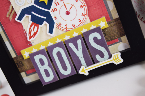 "Boys Altered Frame by Boys Shadowbox by Becki Adams featuring the ""Pinstripes"" collection by #EchoParkPaper"