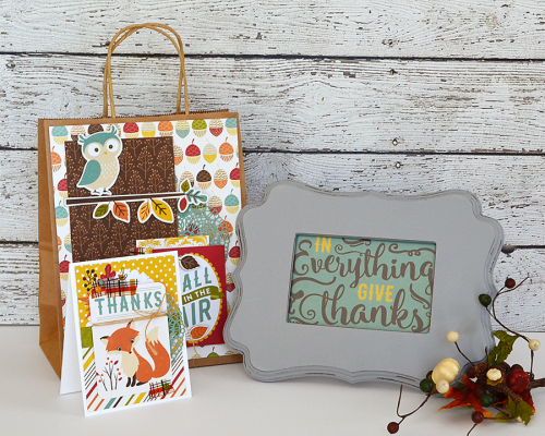 "Autumn gift set - decorate frame, gift bag, and handmade card - by @wendysue for #EchoParkPaper with their ""Fall is in the Air"" collection and #designerdie"