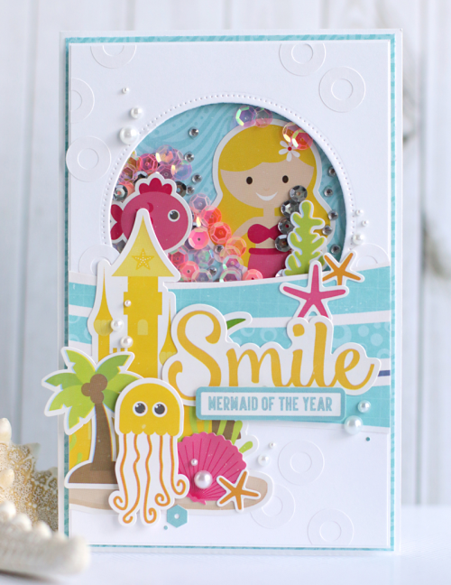 "Shaker card tutorial by Anya Lunchenko with the ""Let's Be Mermaids"" collection by #EchoParkPaper"