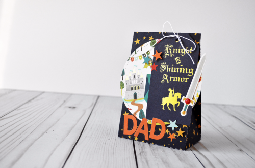 "Create a gift bag fit for a king, or a Dad!  This father's day gift bag was created by Wendy Sue Anderson with the ""Once Upon a Time - Prince"" collection kit by #EchoParkPaper"