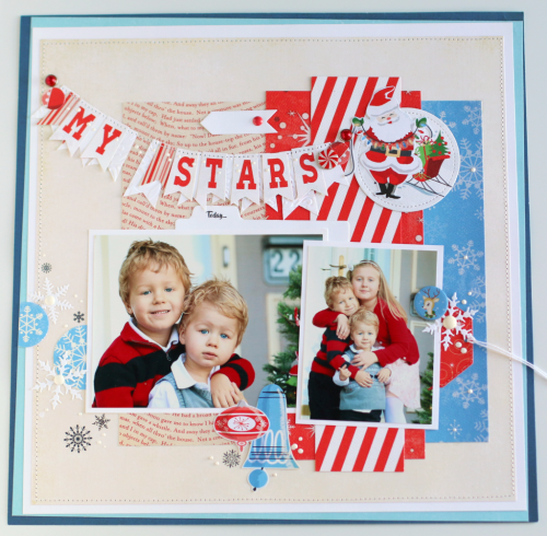 "My Stars Layout by Anya Lunchenko with the ""A Very Merry Christmas"" collection by #CartaBellaPaper"