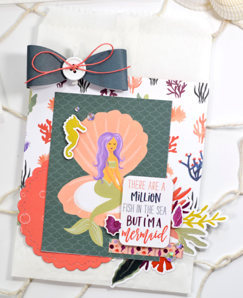 "Mermaid themed gift bags by Tya Smith featuring the ""Mermaid Tales"" collection by #EchoParkPaper"