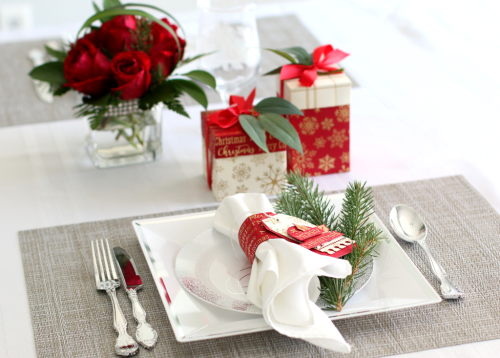 Holiday Table Setting by Anya Lunchenko featuring the gold foiled holiday collection by #CartaBellaPaper and #EchoParkPaper