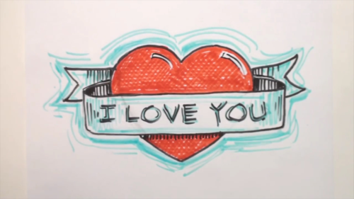 How-to-draw-a-heart-with-a-banner