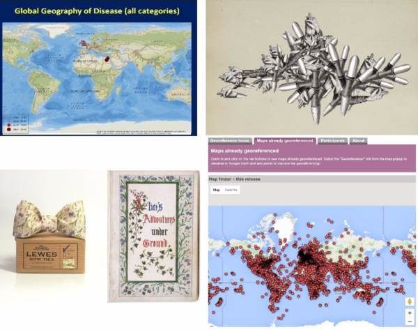 (Top-left) Spatial Humanities research group at the University Lancaster,  (Top-right) A computer generated work of art, part of'The Order of Things' by Mario Klingemann,  (Bottom-left) A bow tie made by Dina Malkova  and (Bottom-right)work on Geo-referenced maps at the British Library that James Heald is still involved in.