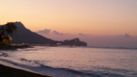 Aloha!  Sunrise over Diamond Head and Waikiki Beach.