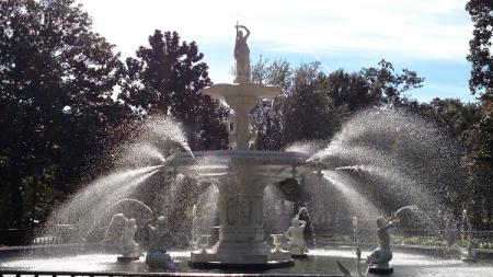 There's booze at the fountain at Forsyth Park in Savannah, Georgia.