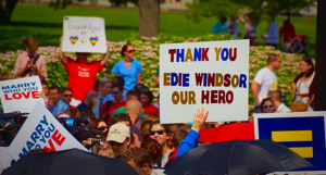 Marriage_equality_support_sign_thanking_Edith_Windsor_(9144992760)