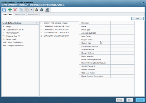 CAESAR II Static Analysis Load Case Editor