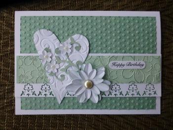 Card JI aqua heart and flowers