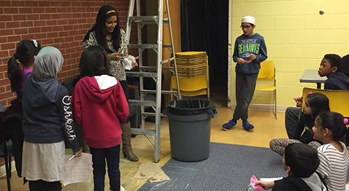 Children at a library STEM program