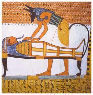 Anubis, el Dios que presidía el embalsamamiento, en una puntura miral de la tumba tebana de Senedjem Anubis, el Dios que presidía el embalsamamiento, en una puntura miral de la tumba tebana de Senedjem