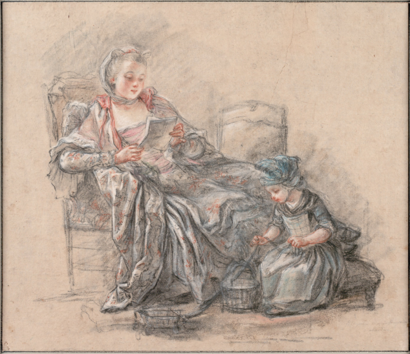 Francois_Guérin_-_Woman_Reading_and_a_Girl_Playing_(presumably_the_Marquise_de_Pompadour_with_her_daughter_Alexandrine) _1748_-_Google_Art_Project