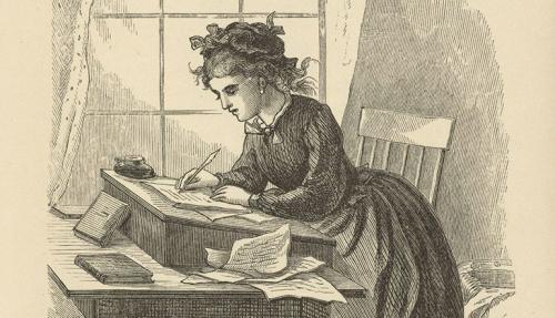 Jo March at her writing desk in Little Women