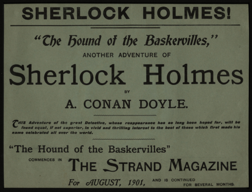 Original advertising broadsheet for The Hound of the Baskervilles in Strand magazine
