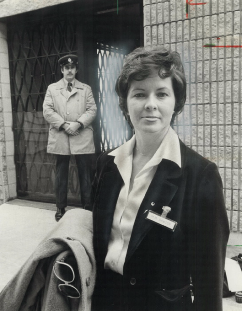 Mary Dawnson standing in front of Warkworth penitentiary