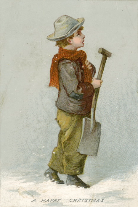 A boy dressed in winter clothes carries a shovel in the snow