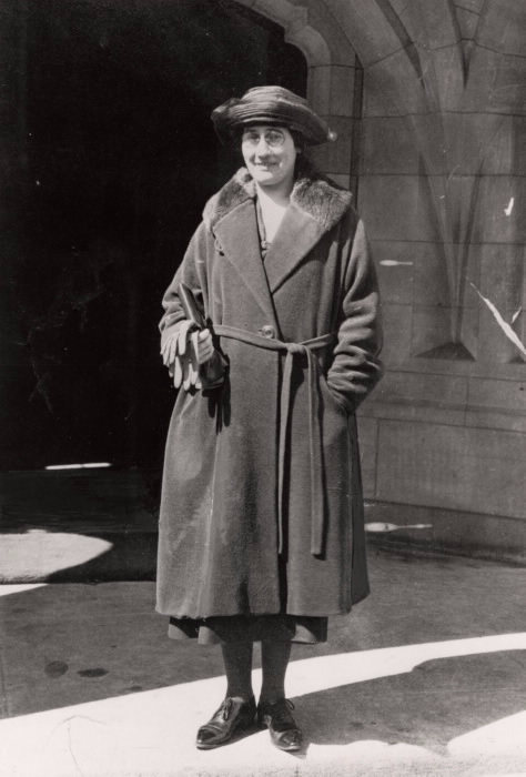 Portrait of Agnes MacPhail in old-fashioned hat and coat