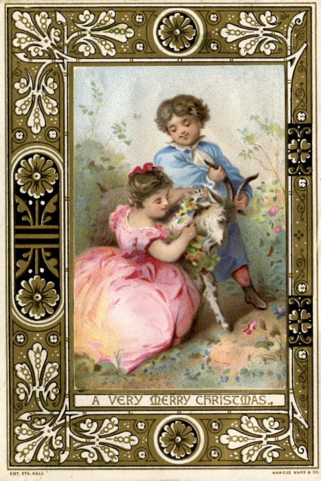 Two children adorn a goat with a wreath in the inset image  bordered by a decorative pattern