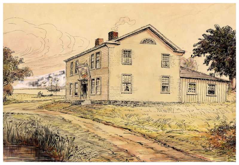 The King's Head Inn from the North-West Burlington Bay (Hamilton  Ontario)